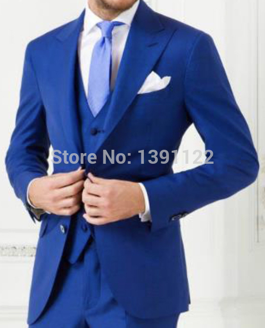 2018 Custom made Royal Blue wedding suits 3 pieces Men Tuxedos ...