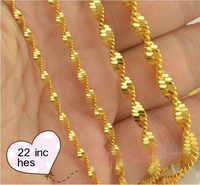 22*5 PZ Monili di Disegno Doppia Onda di Acqua ORO Riempito GOLD FILLED Collana Catene Pendenti