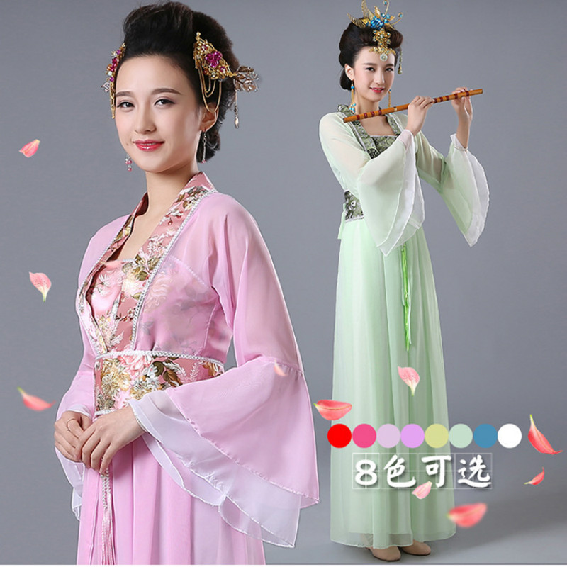 Costume Chinese Hanfu New Red White Women Ladies Princess Ancient National Traditional Dance