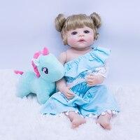 cute Lifelike Reborn Baby Doll 22Inch blond hair Princess Girl Babies Silicone Newborn Doll Toy With Unicorn plush toy Kids gift