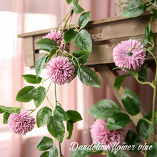 Xuanxiaotong 180cm Purple Dandelion Artificial Flower Vine for Wedding Home Wall Hanging Decoration Bridal Rattan