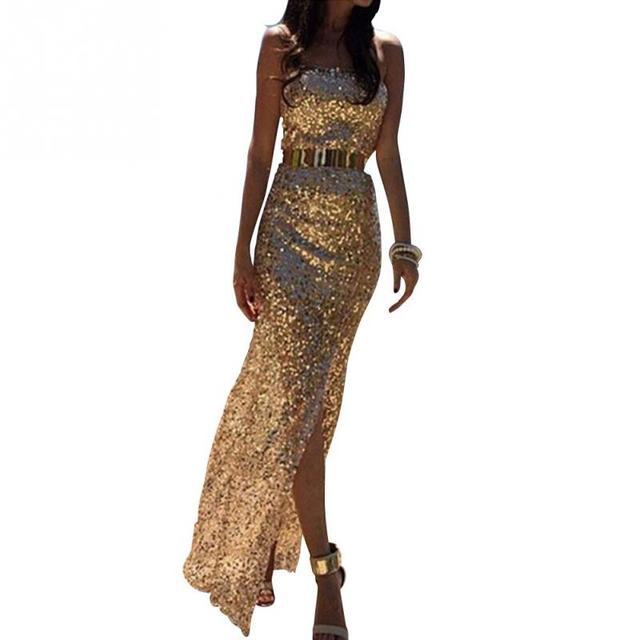 lange jurk goud