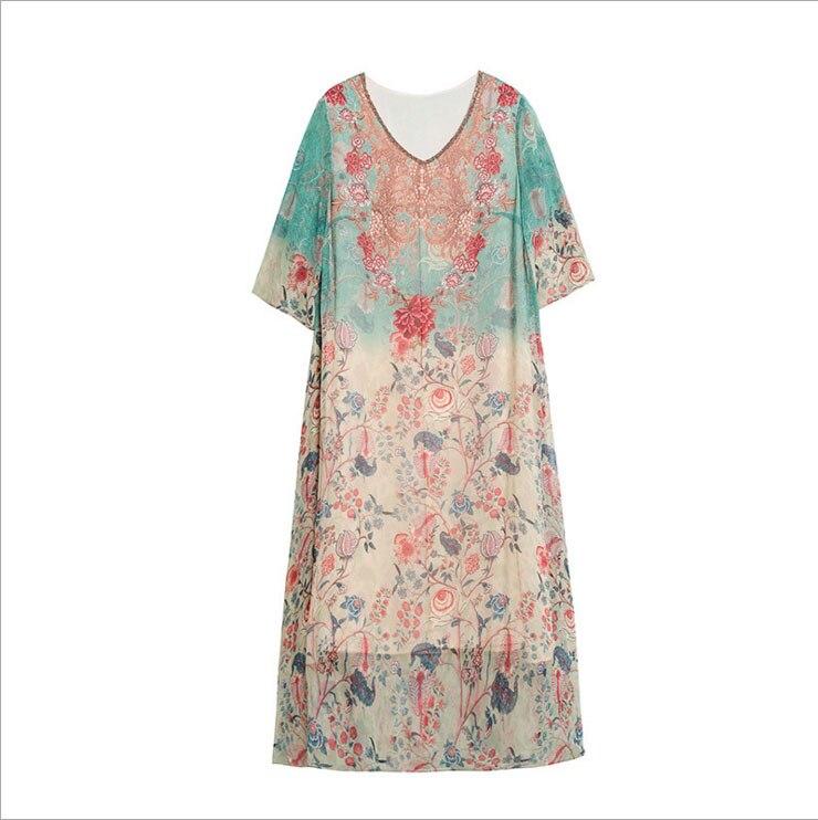 2018 Soie Mode Robe Floral Été Vintage rrBOPxUqw