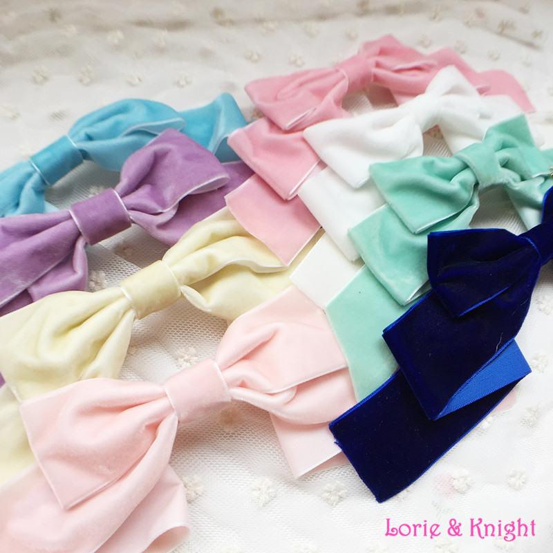 Handmade Sweet Icecream Velvet Bow Lolita Hairpin Headwear KC