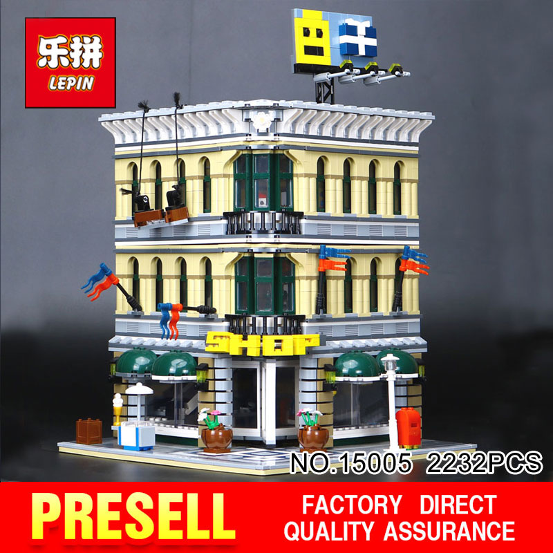 LEPIN 15005 2232Pcs City Creator Grand Emporium Model Building Blocks Bricks action Brick for Children Toy Compatible with 10211 lepin 15018 3196pcs creator city series sunshine hotel model building kits brick toy compatible christmas gifts