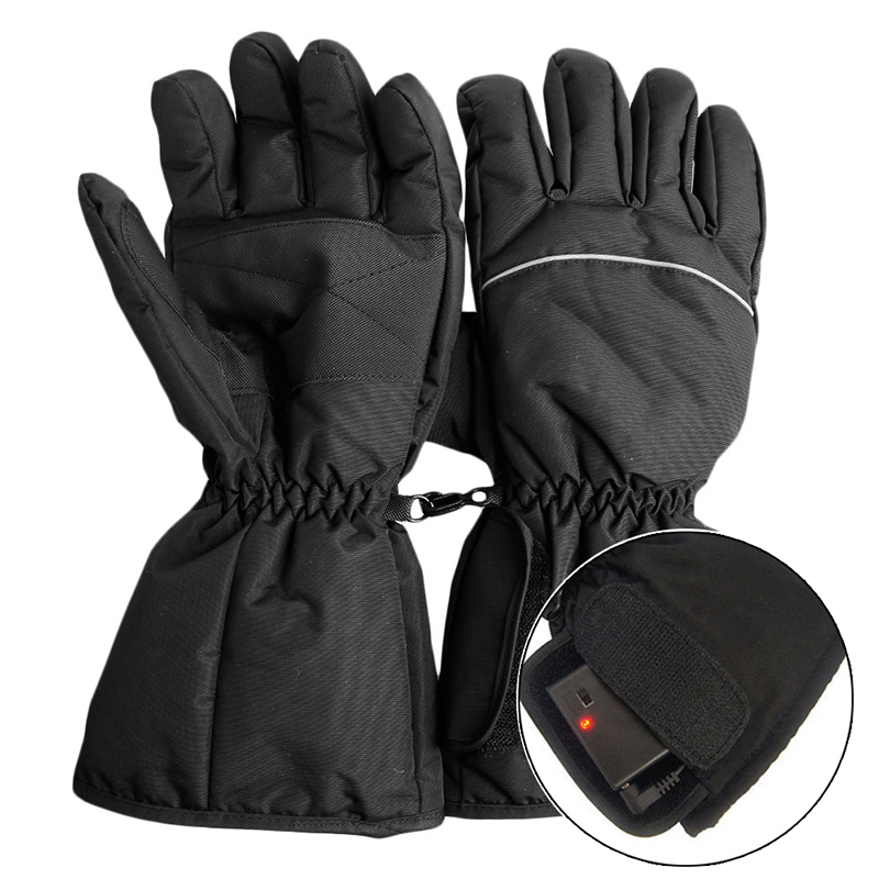 1 par de guantes calentados par a prueba de agua a batería para la caza de motocicletas calentador de invierno (sin batería)