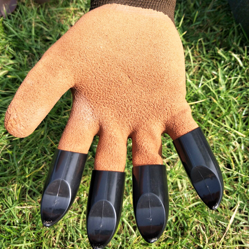 Protective Gears Garden Gloves 4 Hand Claw Abs Plastic Rubber Gloves Quick Excavation Plant Waterproof Insulation Home Living Essential Gadgets Reputation First Garden Tools