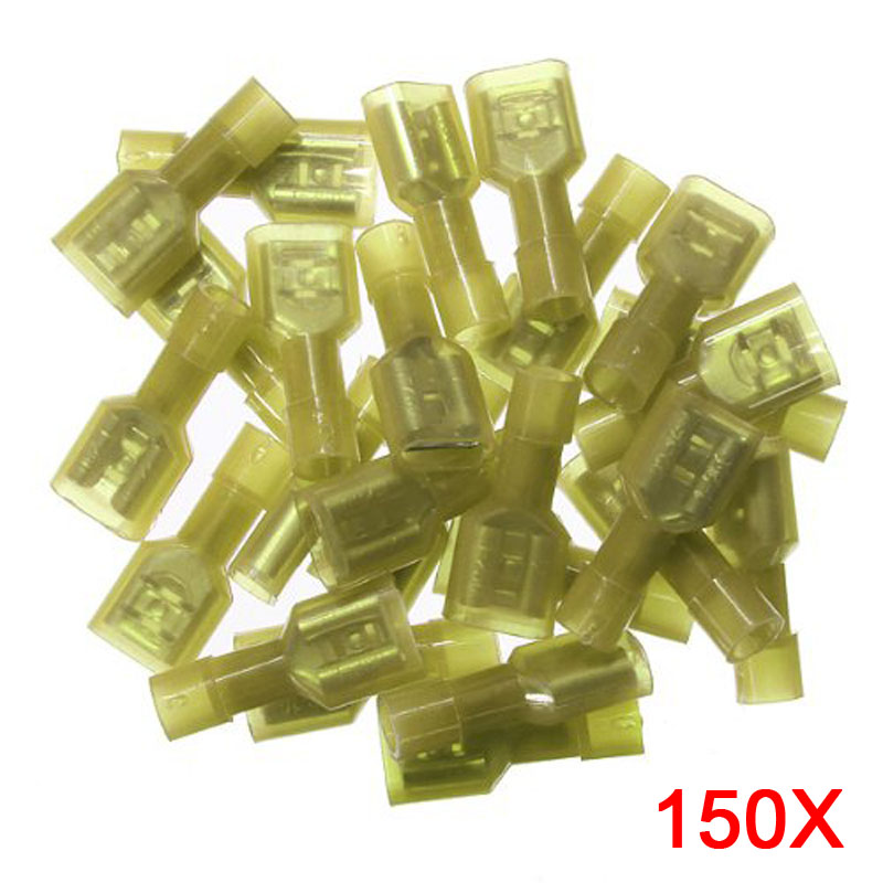 150PCS  Wire Cable Nylon Insulated Spade Crimp Terminals Car Motor Audio Power Terminal Connector 12-10AWG CLH multi packed ve insulation terminal tube type assorted insulated spade crimp cold pressed terminals for car auto earth terminal