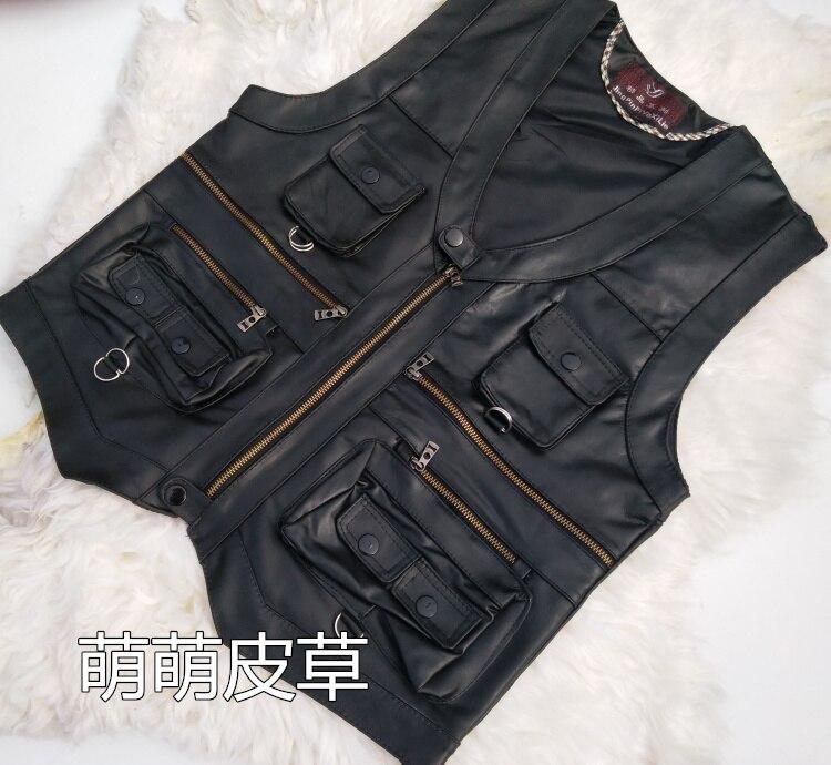 2020 Sheepskin Leather Vest Men Waistcoat Pocket Vests
