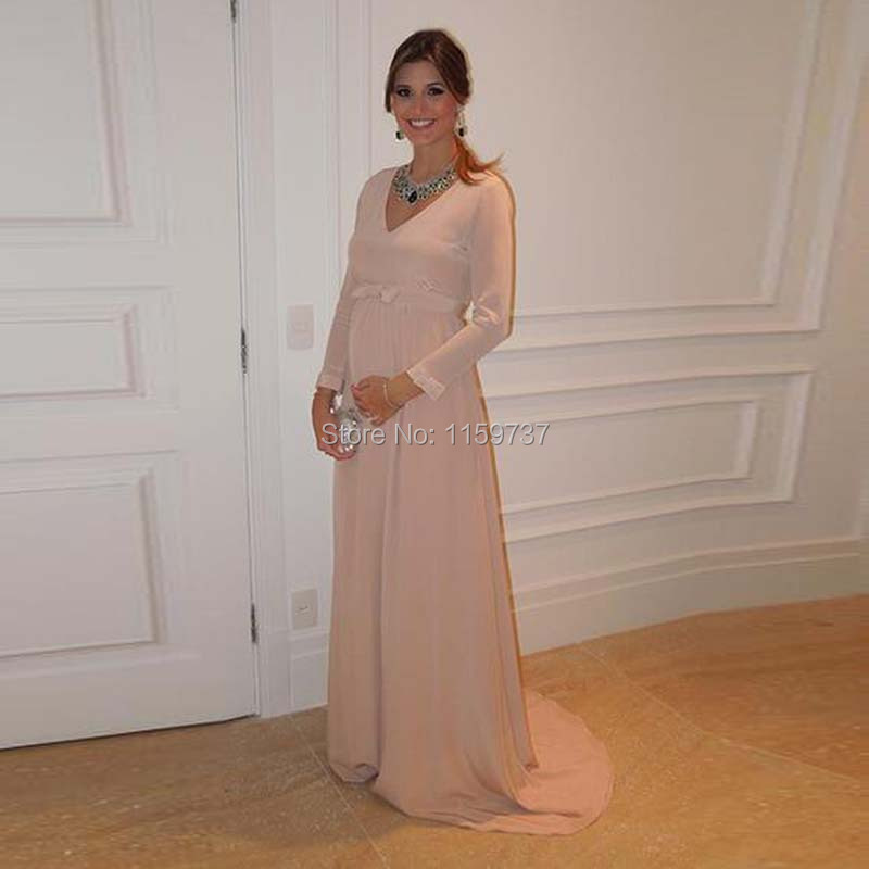 Latest Latest Style Maternity Evening Dress Long Sleeve V neck ...