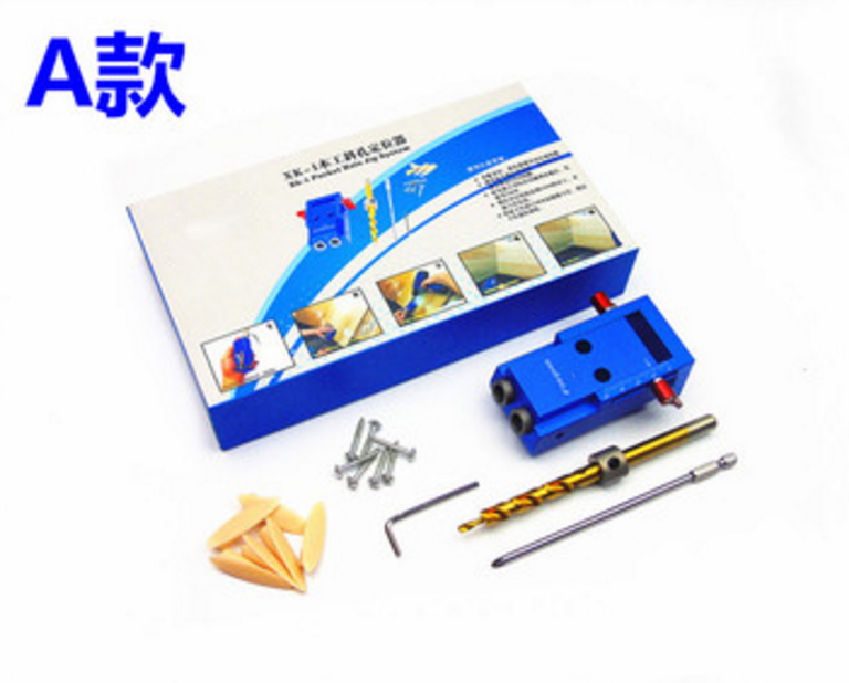 Wood Working tool,Aluminium Alloy Mini Pocket Hole Jig Kit System, Joinery with 3/8 inch 9.5mm Step Drill Bit pocket hole jig woodworking repair kit carpenter system guide with toggle clamp 9 5mm and 3 8 inch step drill bit