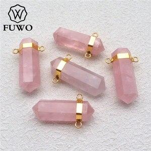 Розовая кристаллическая подвеска FUWO, с 24-каратным золотым наполнителем, латунная рамка, модная, двойная, розовая, Кварцевая точечная подвес...