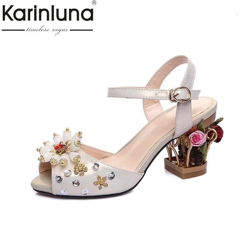Karinluna 2018 Summer Brand Design Sweet Genuine Leather Women Sandals Big Size 34-43 Strange Heels Shoes Woman Party WeddingKarinluna 2018 Summer Brand Design Sweet Genuine Leather Women Sandals Big Size 34-43 Strange Heels Shoes Woman Party Wedding