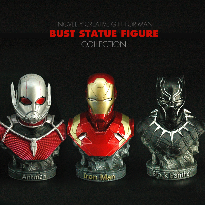 Pandadomik Iron Man Antman Black Panther Resin Toy Figure Bust Statue Model Avengers Toy Figurine Marvel Toys Gift for Boys Man marvel avengers statues ironman ant man thanos black panther action figure home decoration gift ant man antman iron man statue