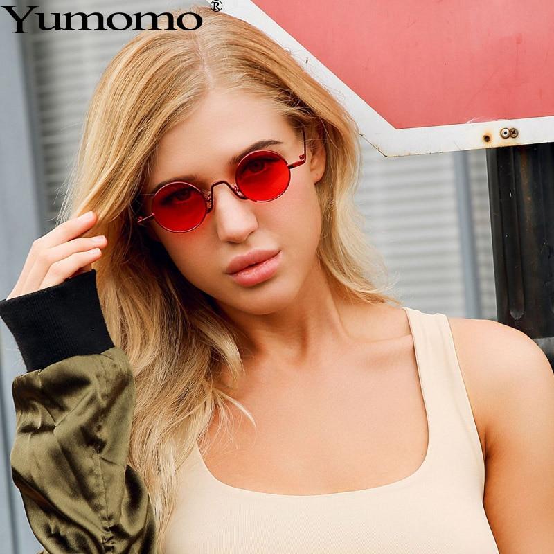 Vintage Round Sunglasses Women 2019 New Fashion Luxury Brand Designer Unique Metal Red Gradient Small Eyes UV400 Ladies Eyewear in Women 39 s Sunglasses from Apparel Accessories