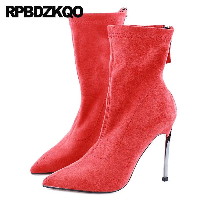 36233c3bb Camurça Designer Vermelho Fetiche Chuteiras Apontado Para Cima Extremo 2018  Salto Alto Sapatos De Marca Luxo Mulheres Dançarina Exótica Estilete  Tornozelo ...