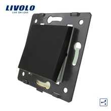 Livolo Black Plastic Materials,  EU  Standard, Big Two Way Function Key For Wall Push button Switch, C7-K1S-12
