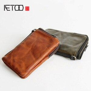 Image 2 - Короткий кошелек AETOO в стиле ретро, кожаный мужской бумажник с верхним слоем, Молодежный винтажный вертикальный клатч на молнии