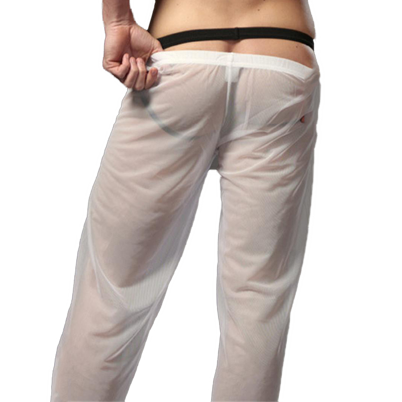 7939ef21ab Sexy Pantalon Pijama Hombre dormir de Nylon para ver a través de fondos  pantalones Masculino larga Hombre Color transparente ropa en Pantalones de  pijamas ...