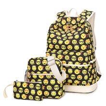 Мода 3 шт./компл. emoji девушка школьный рюкзак высокое качество холст Женский Путешествия школьный ранец женщины рюкзак SAC DOS мешок