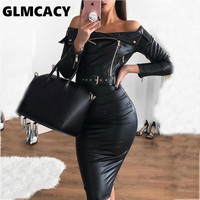Women Off Shoulder Slim Zipper Design PU Leather Dress Streetwear Sheath Solid Knee Length Long Sleeve Slash Neck Party Dress