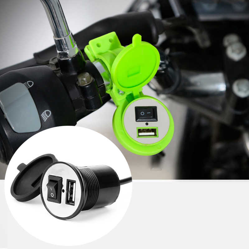 USB Motorcycle Cigarette Lighter Socket Plug Waterproof Switch Motorcycle 12V Socket Motorbike Phone Charger Adapter Accessories