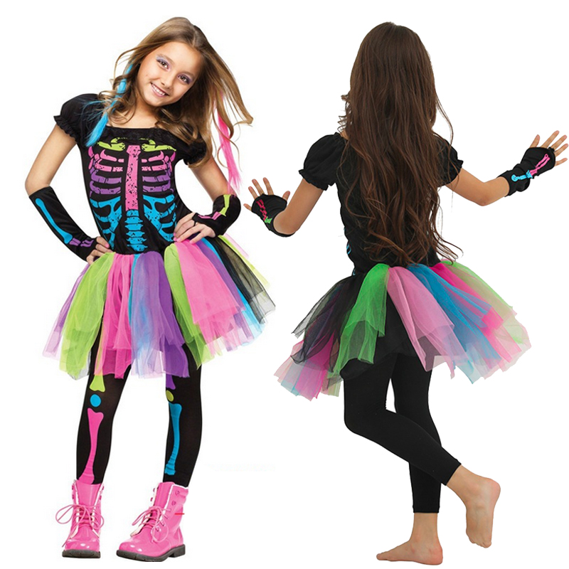 Halloween Costume For Children, Costume For Girls With Funny Punks-bones, Costume For Children Of 2019, Rocker Skeleton Costume,