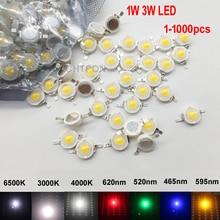 100Pcs 1 W 3 W High Power LED Light Beams 2.2 V 3.6 V SMD Chip LED Diodes White / Warm White / Red / Green / Blue Lamp