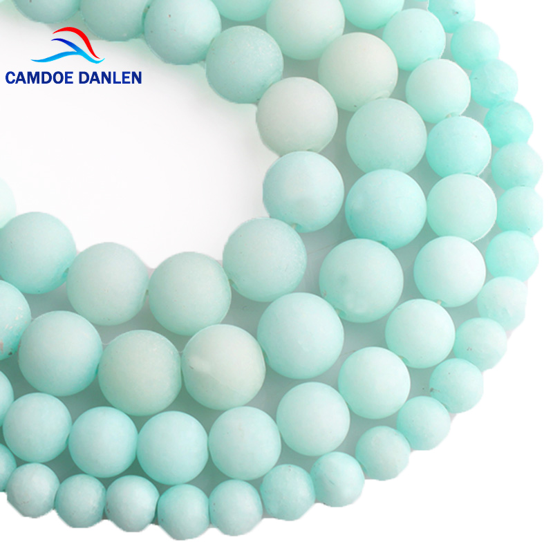 Systematic Camdoe Danlen Natural Stone Blue Amazonite Frosted Beads Matte Round Loose Beads 6 8 10 12mm For Jewelry Making Fit Diy Bracelet Evident Effect Beads