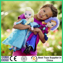 40cm/50cm Plush Princess Toys Boneca Original Snow Queen Anna Elsa Plush For Children Soft Stuffed Doll For Kids Free Shipping