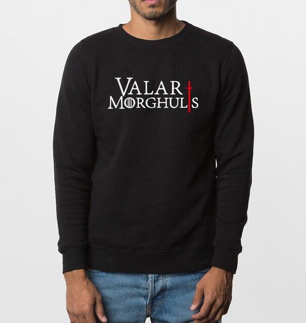 2017 новый осень зима мода толстовки Игра Престолов мужчины кофты Валар Morghulis письма печати уличная топ clothing