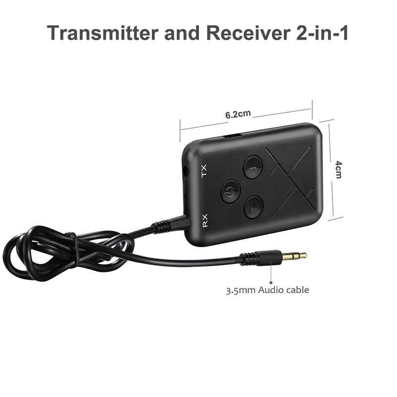 Rovtop 2 in 1 Wireless Stereo Bluetooth Transmitter Receiver 4.2 Audio 3.5mm Adapter For Smartphone PC TV Bluetooth Transmitter