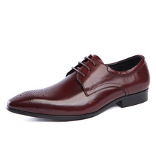 Real Leather Men's Oxfords Pointed Toe Business Dress Shoes for Man Lace Up Wedding Shoes Black Wine Red formal shoes