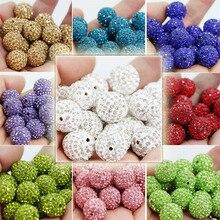 50 Uds 16mm Shamballa Beads Crystal bolas de discoteca cuentas espaciadoras Shambhala, pulsera Shamballa Crystal Clay DIY Jewelry PJW114