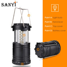 Collapsible 30 LED Camping Lantern Outdoor Portable Lights Water Resistant Hanging Tent Flashlight Camping Lighting Lamp(China)