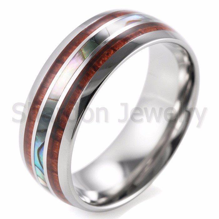 Titanium Wood & Pearl Ring