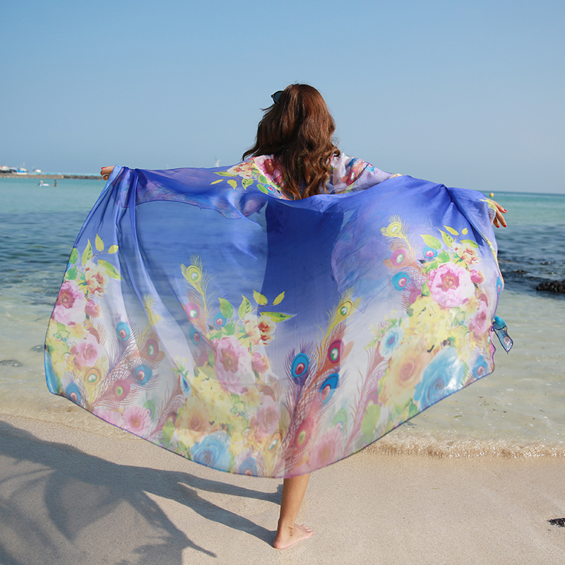190*125cm 2019 Summer Print Silk   Scarf   Oversized Chiffon   Scarf   Women Pareo Beach Cover Up   Wrap   Sarong Sunscreen Long Cape Female