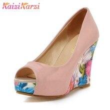 3e2d12804 KaiziKarzi Sexy Sapatos Peep Toe Mulheres Impressão das Mulheres Altas Cunhas  Sapatos de Plataforma Cunhas Bombas
