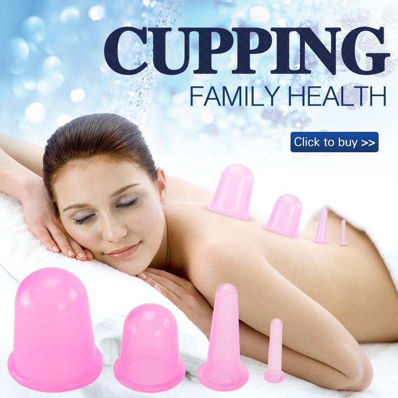 1 Unidades/4 Unids productos de Cuidado de La Salud Del Cuerpo Anti Celulitis de Vacío de Silicona Ojo Cara Masajeador de Espalda Taza Catación conjunto masaje de relajación