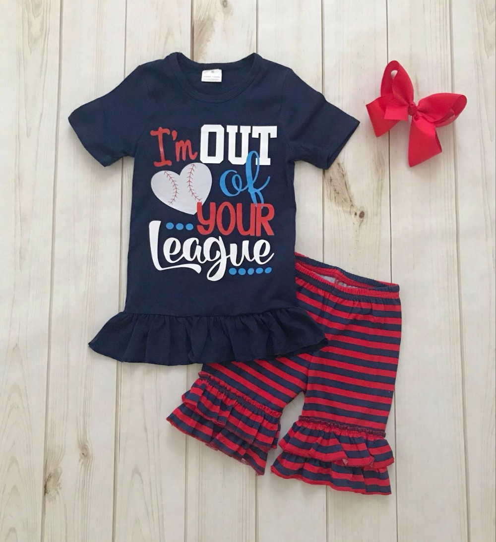 2018 ruffle baseball shirts outfits girls boutique summer set baby girl boutique clothing sets with headbow baby kids baseball season clothes baby girls love baseball clothing girls summer boutique baseball outfits with accessories