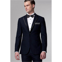 New Navy Blue Wedding Suits For Men Notched Lapel Grooms Tuxedos Two Piece Mens Suits Slim Fit Groomsmen Suit Jacket+Pant