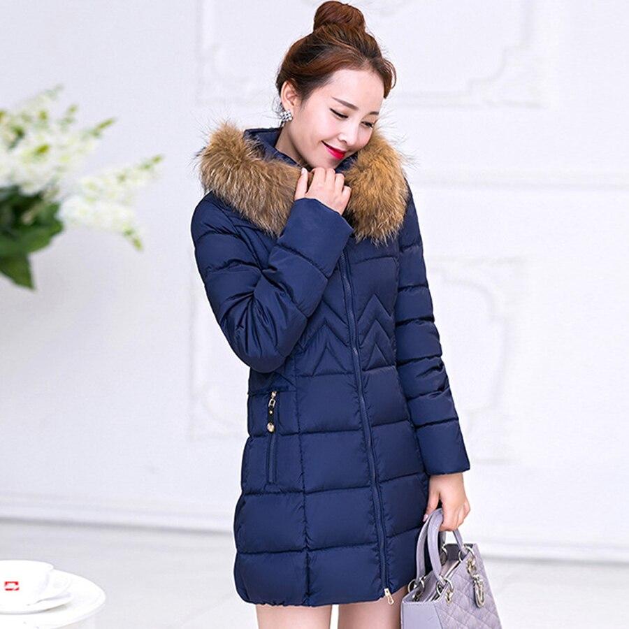 2016 Yeni Kış Koleksiyonu Kadın Aşağı Ceket Ceket Sıcak Kadın Uzun aşağı Parka ile Kürk Yaka Kapüşonlu Kış Ceket Kadınlar Artı Boyutu