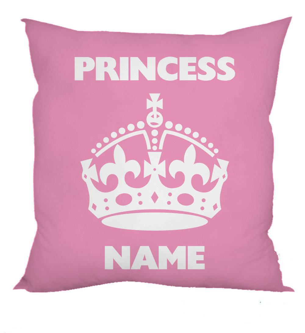 Personalized Pink Princess Crown Design Cushion Cover Case Custom Name Printed Throw Pillow Case ...