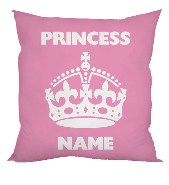 Personalized Pink Princess Crown Design Cushion Cover Case Custom Name Printed Throw Pillow Covers For S Xmas Gift 18