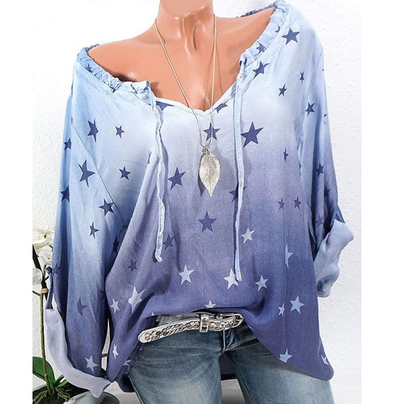 Women's Summer Long Sleeve T-shirt <font><b>Lady</b></font> Pullover Plus Size <font><b>Star</b></font> Pattern T-shirt New <font><b>2018</b></font> <font><b>Sexy</b></font> V-neck Long Sleeve Loose Tees Tops image