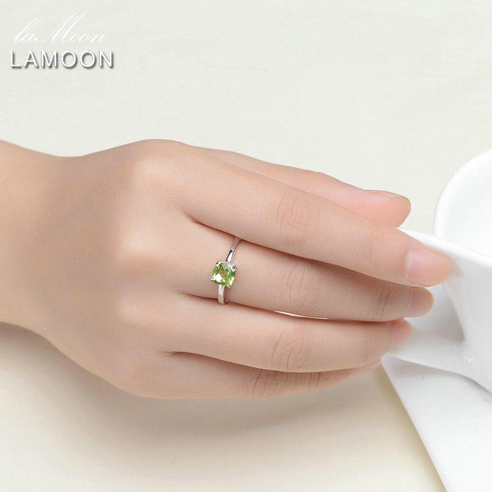 LAMOON 6mm Natural Square Cut Peridot 925 Sterling Silver Simple ...