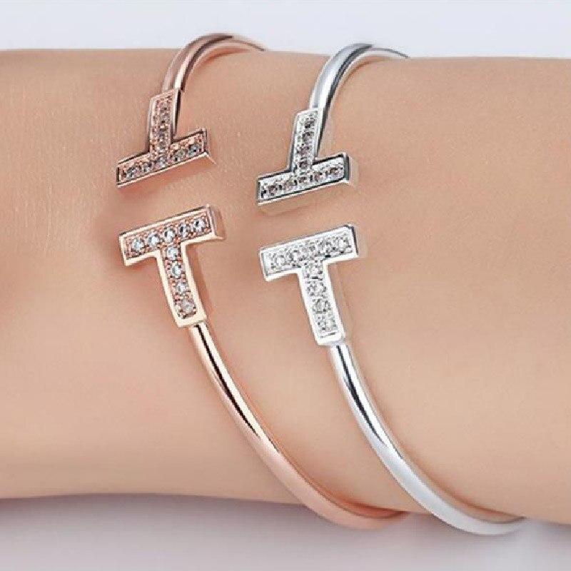 Armbänder & Armreifen Dicaylun Frauen Edelstahl Armreif C Manschette Armreifen Silber öffnen Armband T Charms T Armband