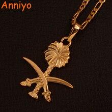 Anniyo collar con colgante de Arabia Saudita para hombre y mujer, Color dorado, símbolo musulmán, espada islámica, Joyería Árabe, #106606