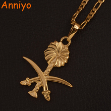 Anniyo ouro cor arábia saudita pingente colares para mulher islam espada símbolo muçulmano jóias árabe itmes #106606