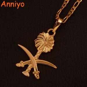 Image 1 - Anniyo זהב צבע ערב הסעודית תליון שרשראות לנשים גברים האיסלאם חרב המוסלמי סמל תכשיטי ערבי Itmes #106606